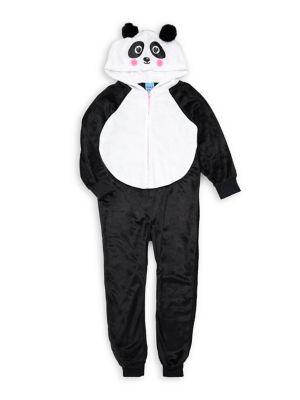 Girl's Panda Zip Coverall...