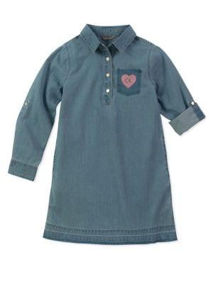 Girl's Chambray Shirtdress...