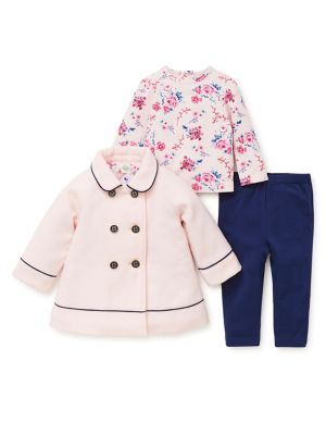 Baby Girls ThreePiece Peacoat Top  Leggings Set