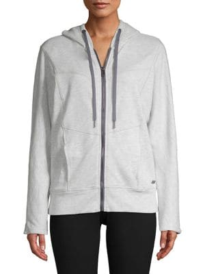 Heathered Paneled Zip...