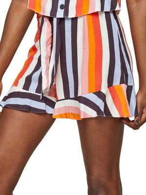 Rainbow Striped Tie-Waist...