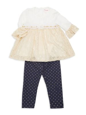 Baby Girls TwoPiece LaceTrim Top  Dotted Leggings Set