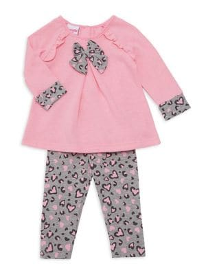 Baby Girls TwoPiece Ruffled Hearts Top  Leggings Set