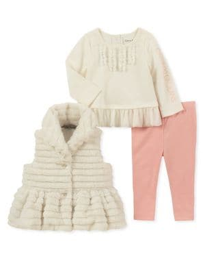 Baby Girls ThreePiece Faux Fur Vest Set
