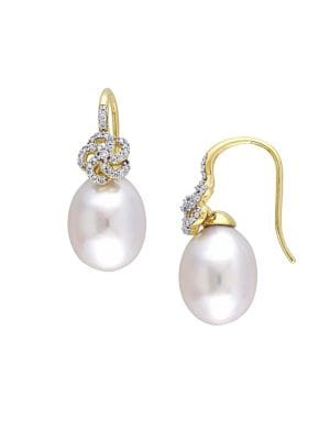 10-10.5MM South Sea Cultured Pearl, Diamond and 14k Yellow Gold Floral Drop Earrings