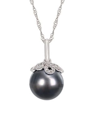 10-10.5MM Tahitian Cultured Pearl, Diamond and 14K White Gold Vintage Necklace