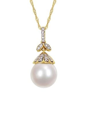 10-10.5MM South Sea Cultured Pearl, Diamond and 14K Yellow Gold Floral Drop Necklace