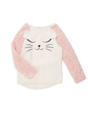 Girl's Faux Fur Raglan...