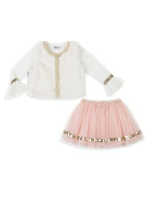 Baby Girls ThreePiece Sequin Trim Skirt Set