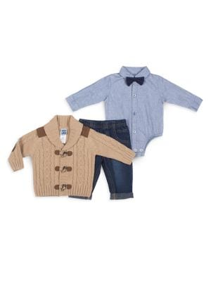 Baby Boys ThreePiece Toggle Cardigan Shirt Bodysuit  Jeans Set