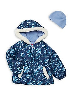 54703ae25 Product image. QUICK VIEW. London Fog. Little Girl's Printed Faux Fur  Hooded Jacket and Winter Hat ...