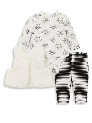 Baby Girls ThreePiece Printed Vest Cotton Bodysuit and Leggings Set
