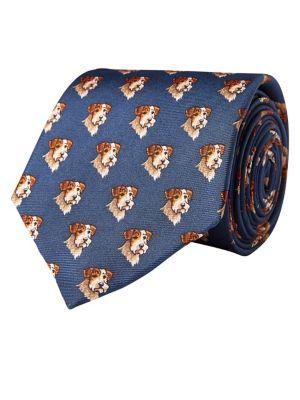 Terrier Print Silk Tie...