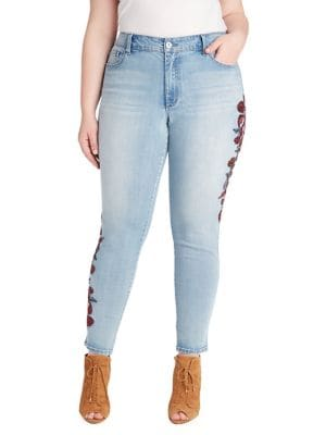 Plus Curvy High-Rise Embellished Skinny Jeans 500088639137