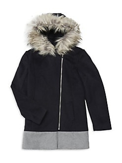 4a1b0bb6812e Product image. QUICK VIEW. Design Lab. Girl s Faux-Fur Colorblock Wool Coat