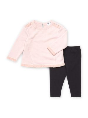 Baby Girls Mixed Media TwoPiece Sweater  Pants Set