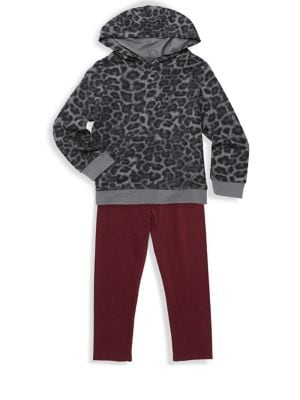 Babys Girls TwoPiece Leopard Print Sweater and Pants Set