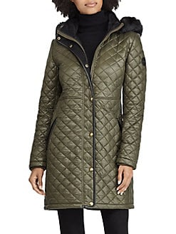 4d1d6f7e8a2 Faux Fur-Trimmed Quilted Hooded Jacket OLIVE. QUICK VIEW. Product image