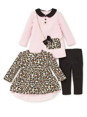 Baby Girls ThreePiece Leopard Dress Set