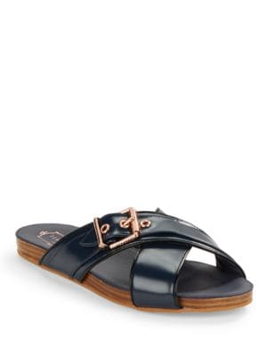 Lapham Crossed Leather Slide Sandals by Ted Baker London