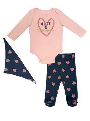 Baby Girls ThreePiece Heart Bodysuit Pants  Bib Set
