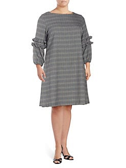 f96a30956cd77 Plus Plaid Long-Sleeve A-Line Dress BLACK IVORY. QUICK VIEW. Product image.  QUICK VIEW. Gabby Skye