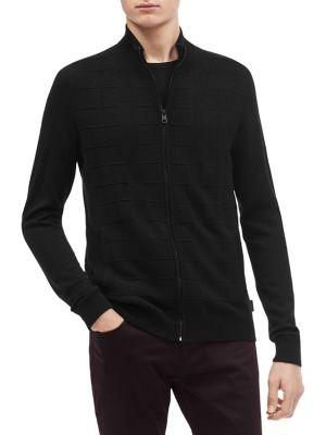 Ottoman Grid Zip Sweater...