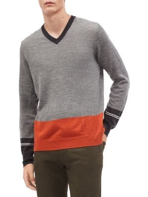 Colorblock V-Neck Sweater...