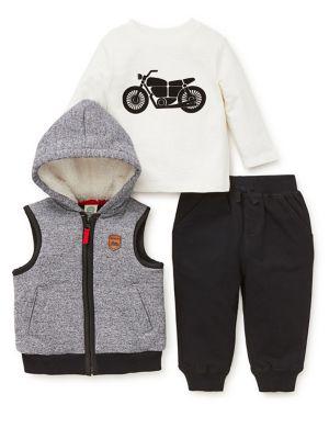 Baby Boy's Three-Piece Faux Fur Motorcycle Set 500088675424
