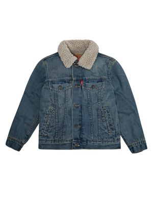 Boys SherpaLined Denim Trucker Jacket