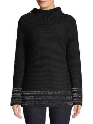 Striped Knit Turtleneck...