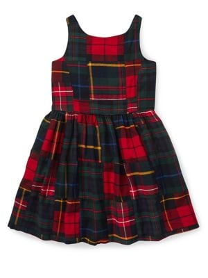 Little Girl's Patchwork Plaid Dress 500088683355