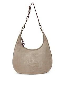5a8044fc70 QUICK VIEW. Lauren Ralph Lauren. Suede Logo Hobo Bag
