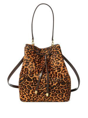 Leopard Print Calf Hair Debby Drawstring Bag 500088683480