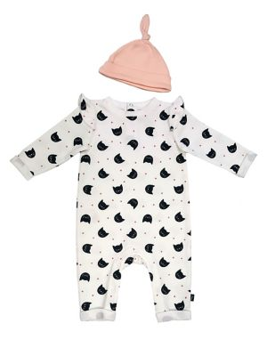 Baby Girls TwoPiece French Terry Coveralls  Hat Set