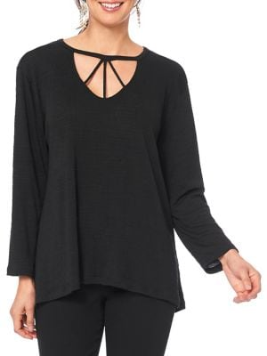 Image of Long-Sleeve Cut-Out Top