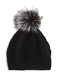 QUICK VIEW. Lord   Taylor. Silver Fox Fur Pom-Pom Beanie 1ad757a1a