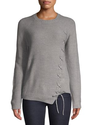 Lace-Up Long-Sleeve Sweater...