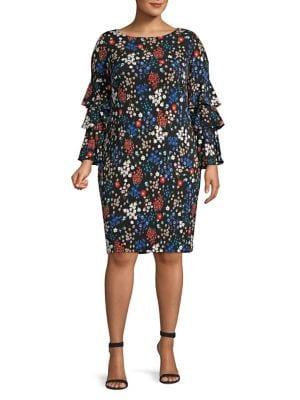 Plus Floral Ruffle-Sleeve Sheath Dress 500088695102