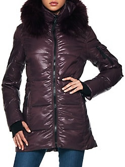 d972ceda10ea Faux Fur Quilted Puffer Jacket WINE. QUICK VIEW. Product image
