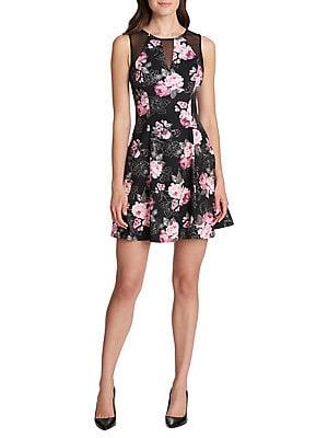 Guess - Floral-Print Fit- -Flare Dress 4b55364f0