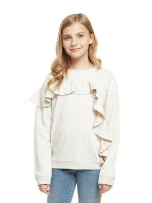 Girl's Ruffle Sweatshirt...