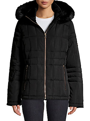 2a75a3bcd2e Calvin Klein - Petite Faux Fur-Hooded Quilted Jacket