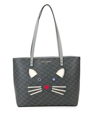 Cat Face Leather Tote 500088711428
