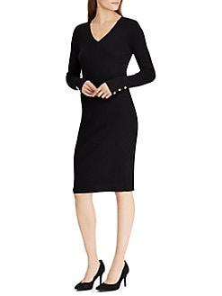 Product image. QUICK VIEW. Lauren Ralph Lauren. Button-Cuff Cotton-Blend  Dress