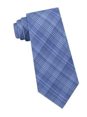 Shaded Plaid Silk Tie...
