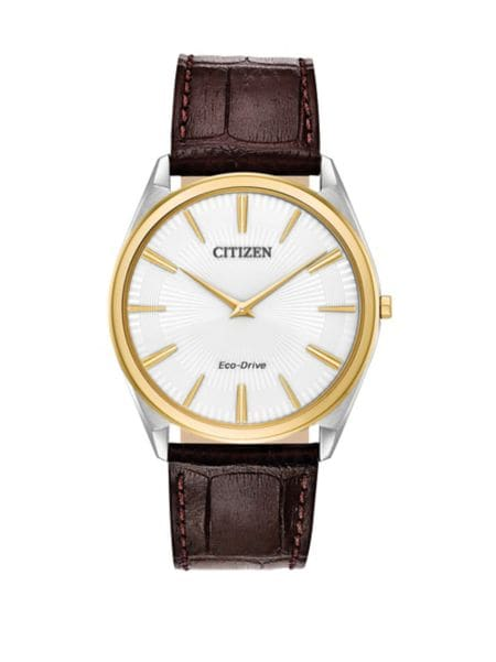Eco Drive Stainless Steel Leather Watch by Citizen