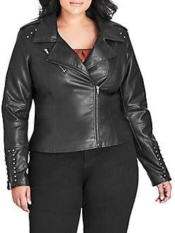 c5a366e01b8cc QUICK VIEW. City Chic. Plus Studded Asymmetrical Jacket