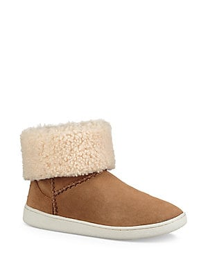 9238edbd8c1 Ugg - Women's Mika Classic UGGpure and Sheepskin-Lined Suede Sneaker Boots