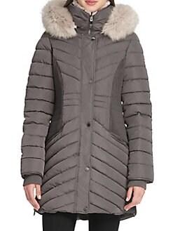 d2c1c80223e QUICK VIEW. Donna Karan. Faux Fur-Trimmed Quilted Coat